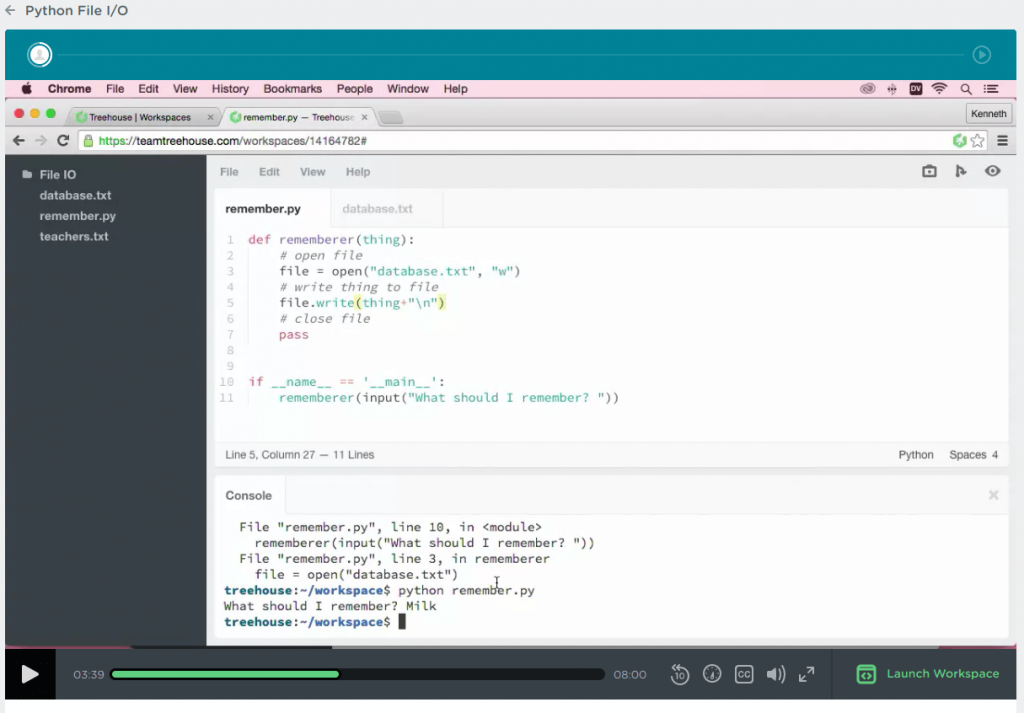 python workshop in team Treehouse python techdegree with lines of code