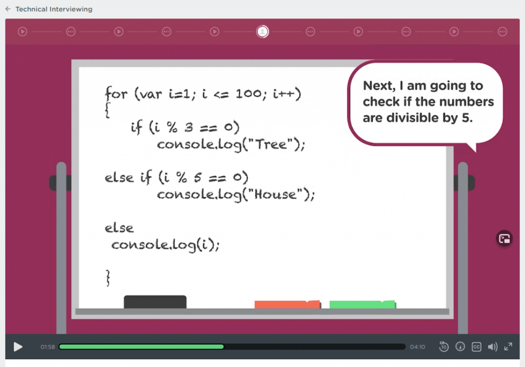 Treehouse video of cartoon whiteboard with code