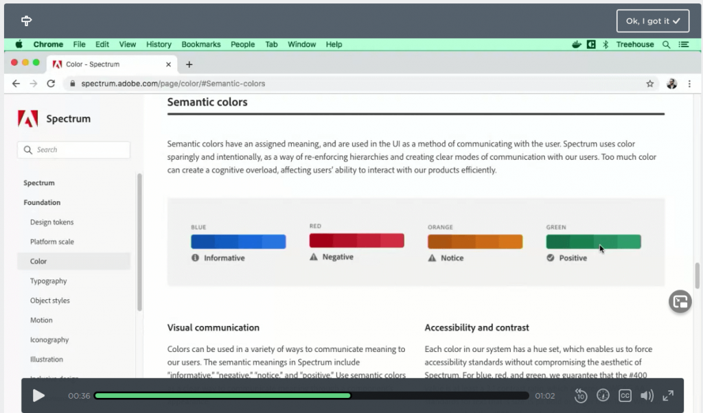 UX Design video on semantic colors in treehouse techdegree review