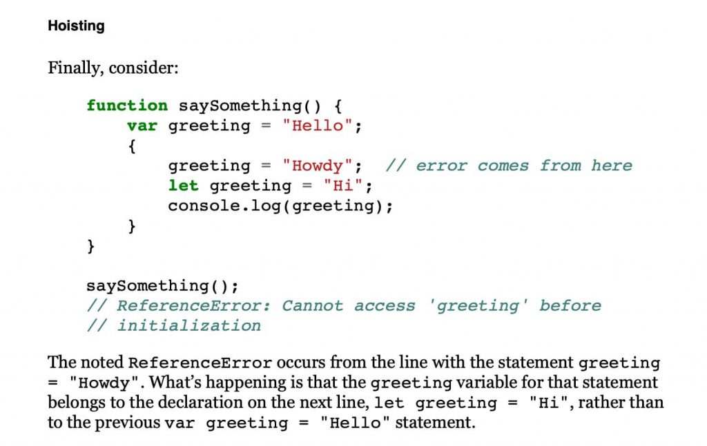 page from you don't know javascript scope and closures book with code snippet