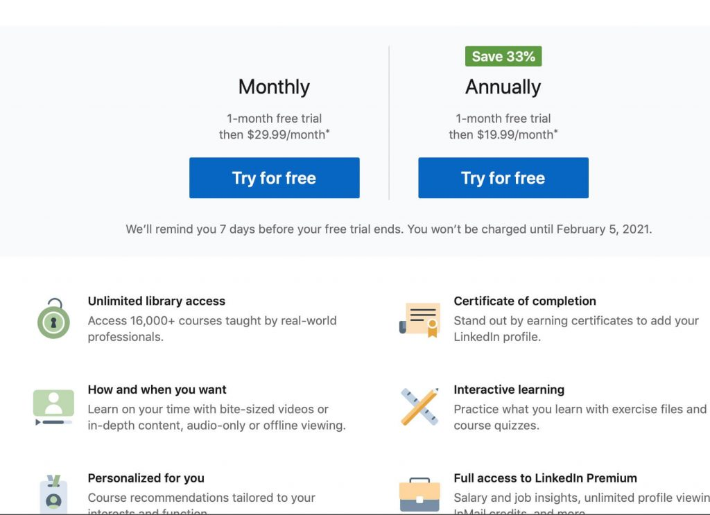 linkedin learning pricing page