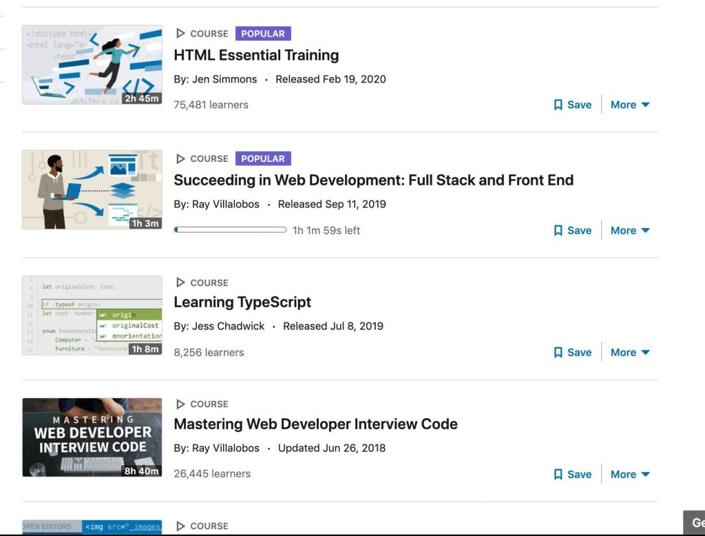 linkedin learning review various web developer courses including html essential training by jen simmons