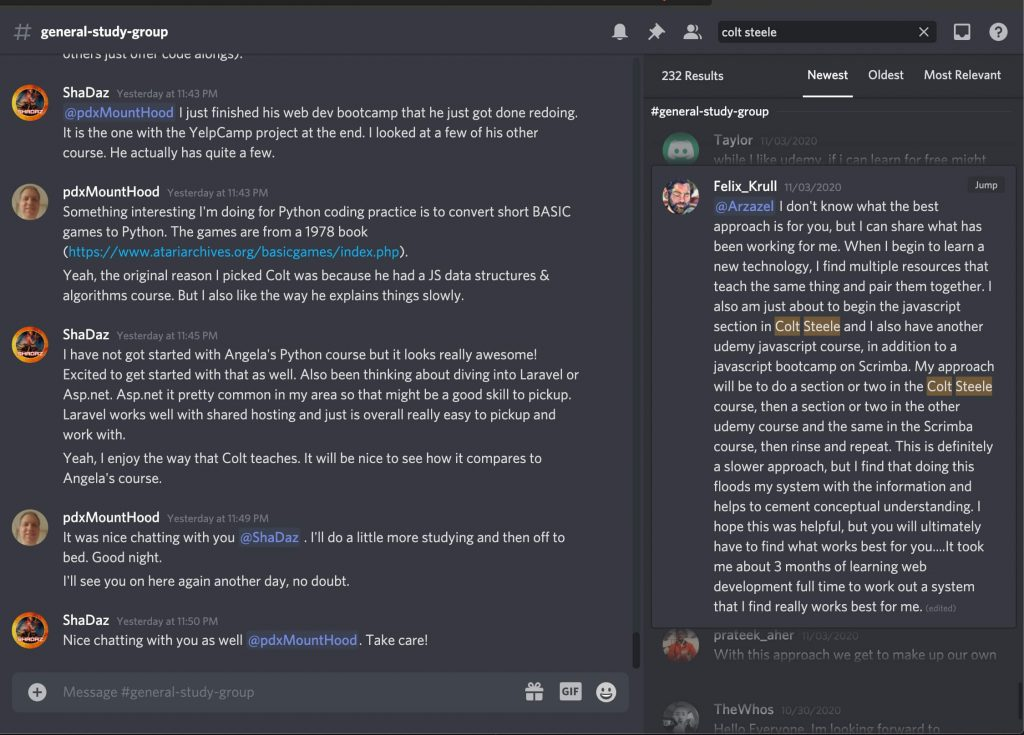 realtoughcandy discord with people discussing the colt steele bootcamp