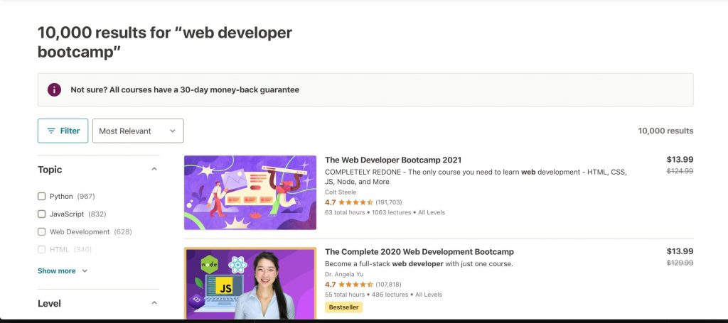 search results for web developer bootcamp on udemy