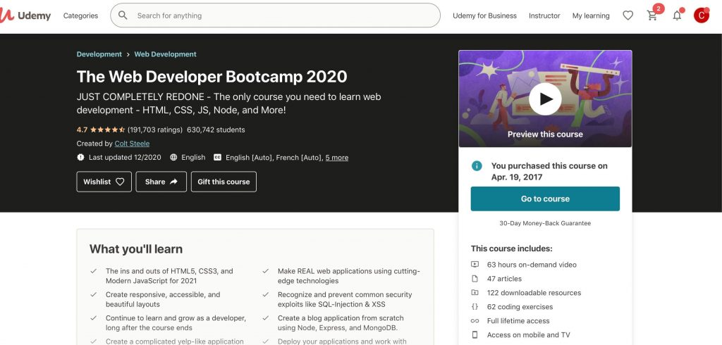 the web developer bootcamp by colt steele 2020 landing page