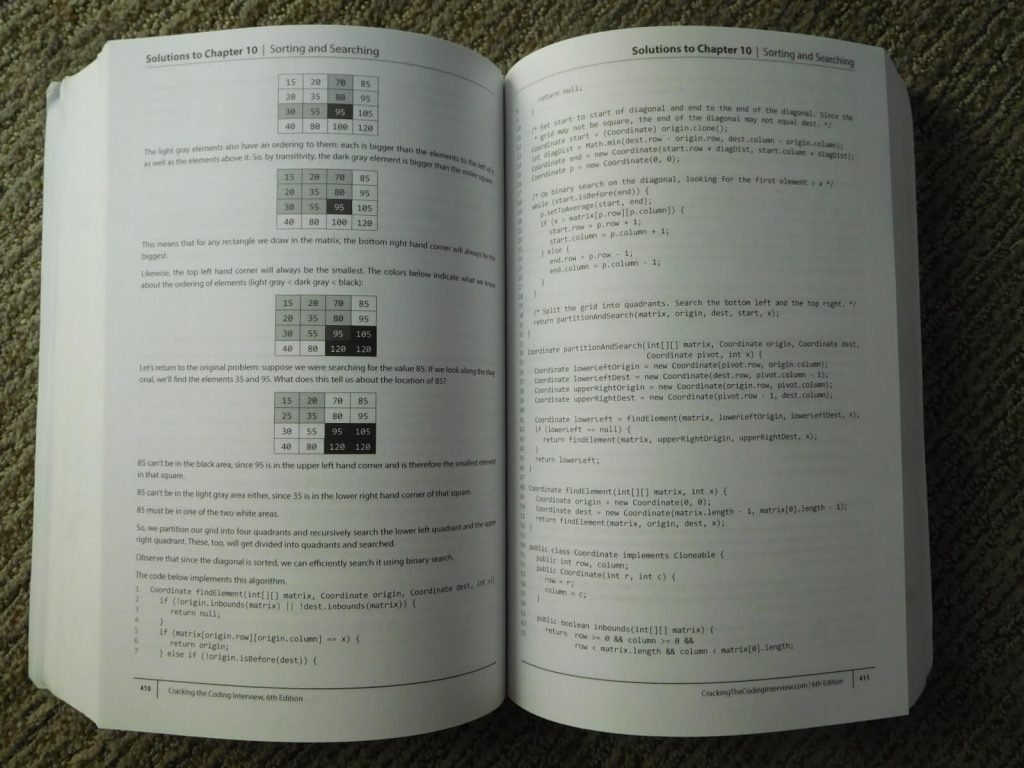 inside of cracking the coding interview book with tables and code