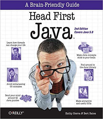 best Java books for beginners Head First Java cover with man pulling down glasses