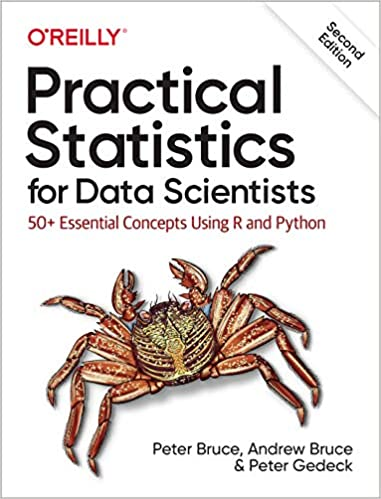 Practical Statistics book cover with crab Python books for data science
