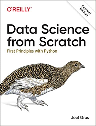 Data Science from Scratch book cover with quail Python books for data science