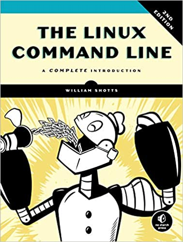 best linux books The Linux Command Line with robot eating code