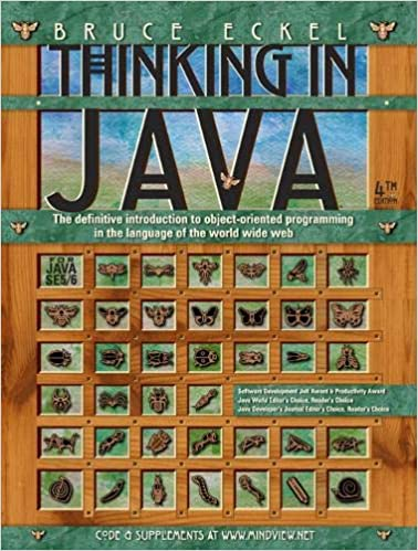 Thinking in Java book cover with insect specimens