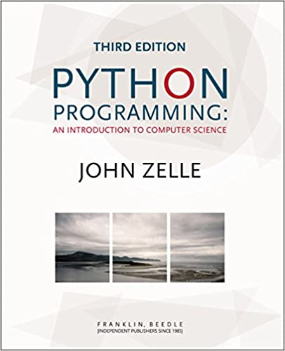 python programming book cover with ocean and mountains